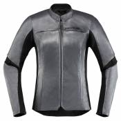 Icon Veste Overlord Leather L Charcoal