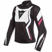 Blouson Dainese EDGE LADY TEX - BLACK MATT WHITE FUSCHIA