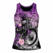 Débardeur femme Lethal Treat Flower motorcycle violet/noir- XL